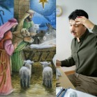 Shepherds and an office worker