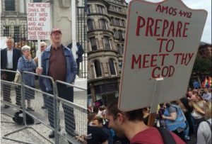 Banner quoting 'Prepare to meet thy God'