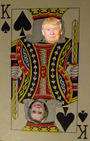 Picture of Donald Trump on a playing card