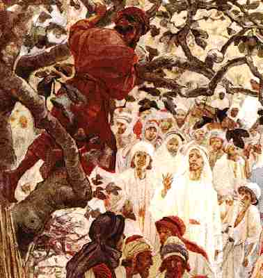 Zacchaeus in Tree by William Hole, 1908, via Wikimedia Commons