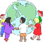 Children surrounding the world