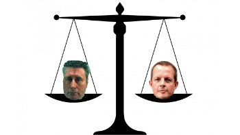 Scales of justice with John Warboys and Nick Boles
