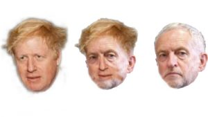 Boris Johnson, Jeremy Corbyn and a blend of their faces