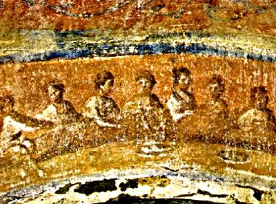 Image of Eucharist in Catacomb of Priscilla, Rome, 3rd Century