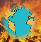 Image of the Earth burning