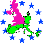 Map of the European Union with a bright pink Britain superimposed on it