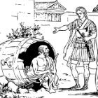 Drawing of Diogenes and Alexander the Great